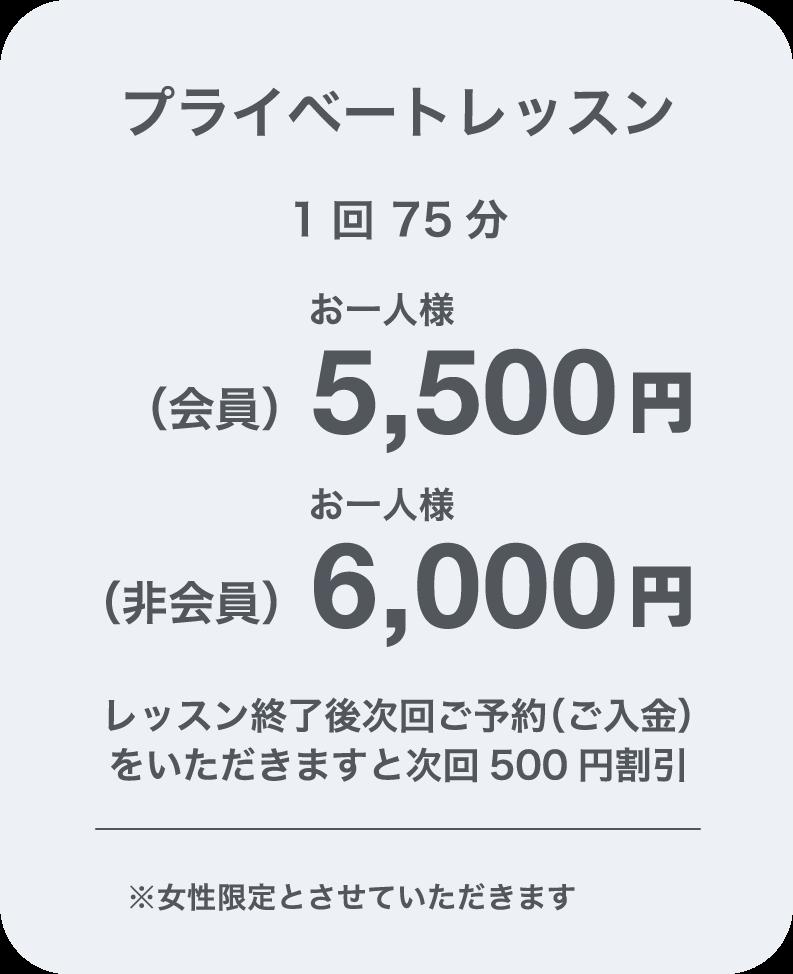 プライベートレッスン(会員)5,500円(非会員)6,000円