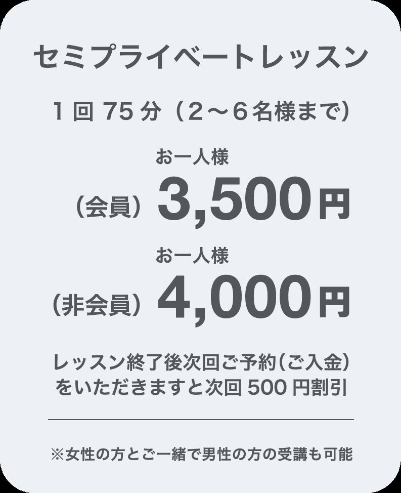 セミプライベートレッスン(会員)3,500円(非会員)4,000円