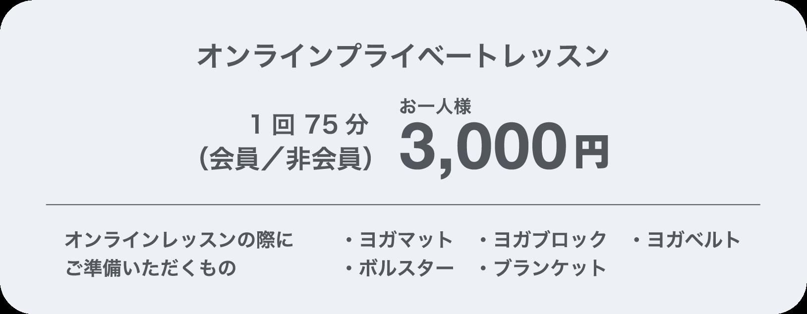 オンラインプライベートレッスン(会員/非会員)3,000円